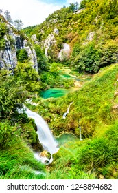 Waterfall in Plitvice Lakes National Park. UNESCO world heritage in Croatia