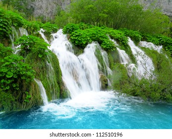 Waterfall in Plitvice National Park, Croatia