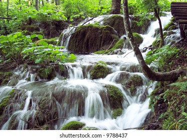 Waterfall in Plitvice National Park of Croatia