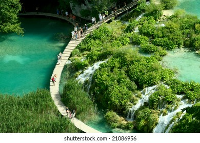 Waterfall in the Plitvice National Park UNESCO World Heritage, Croatia