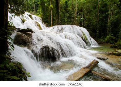 Waterfall and pool, natural beautiful paradise in the forest