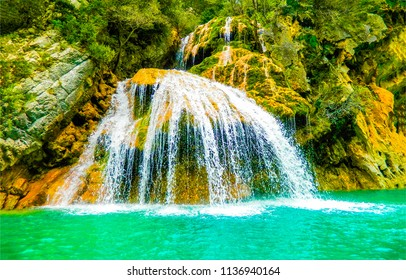 Waterfall pool in tropical forest view. Tropical forest waterfall. Waterfall in deep forest view