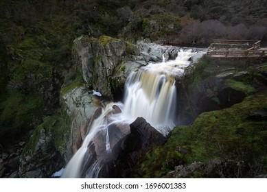 Waterfall of Pozo de los Humos, Salamanca province, Spain - Shutterstock ID 1696001383