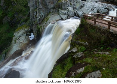 Waterfall of Pozo de los Humos, Salamanca province, Spain - Shutterstock ID 1696001395