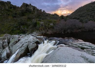 Waterfall of Pozo de los Humos, Salamanca province, Spain - Shutterstock ID 1696035112