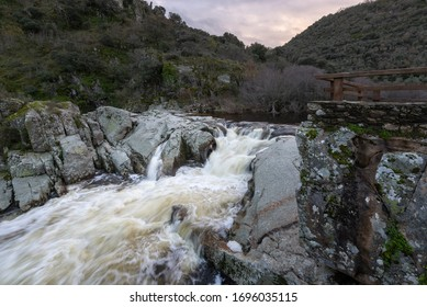 Waterfall of Pozo de los Humos, Salamanca province, Spain - Shutterstock ID 1696035115