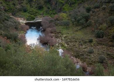 Waterfall of Pozo de los Humos, Salamanca province, Spain - Shutterstock ID 1697816656