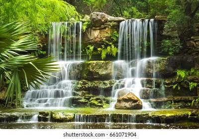 A Waterfall in the Prehistoric Park at Zilker Botanical Garden in Austin Texas