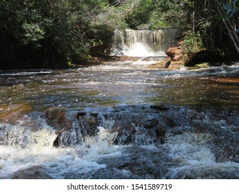 Waterfall in Presidente Figueiredo, in the Amazon region, a lot of strength in the abundant and beautiful waterfall