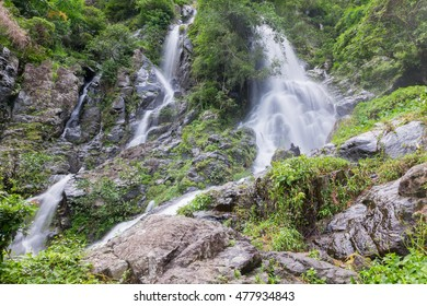 Waterfall and rain forest on mountain,Krok- E- Dok waterfall on mountain at National Park in Thailand.
