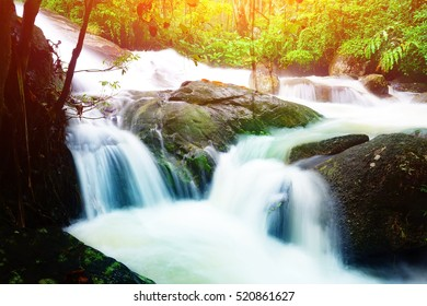 waterfall in rain forest at southern Thailand.