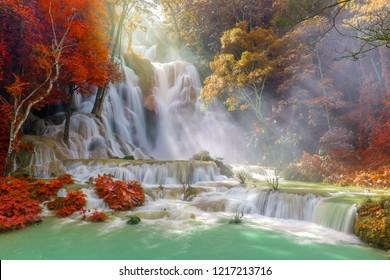 Waterfall in rain forest. (Tat Kuang Si Waterfalls at Luang prabang, Laos)