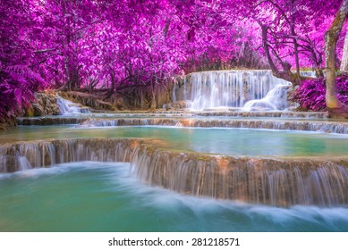 Waterfall In Rain Forest Tat Kuang Si Waterfalls At Luang Prabang Laos
