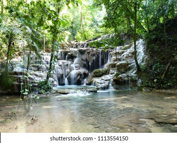 Waterfall in the rain forest of the Yucatan peninsula (Mexico)