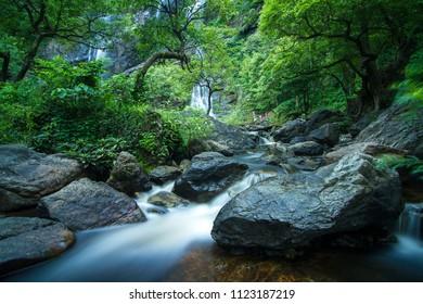 waterfall in Rain forest,at Kamphaeng Phet, Khlong Lan national park Thailand