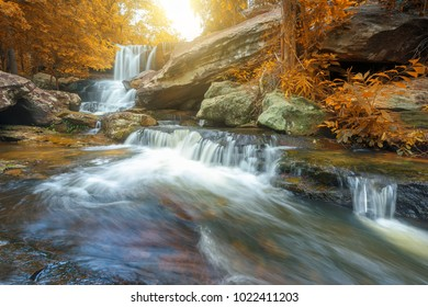 Waterfall in rainforest at National Park. Autumn natural background
