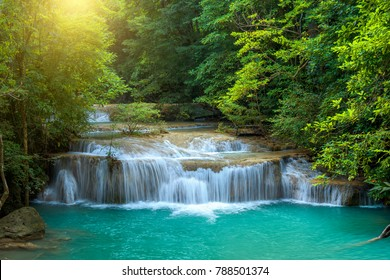 Waterfall in rainforest at National Park. Natural background