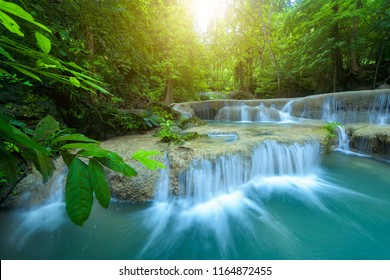 Waterfall in rainforest at National Park, Thailand
