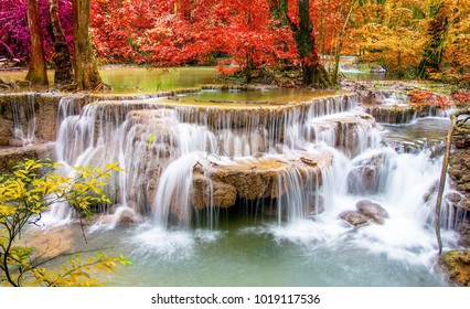 waterfall red trees wallpaper