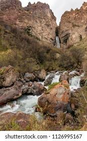 Waterfall. The region of Elbrus, Karachay-Cherkessia, Russia. The gorge of the Malka River, the Gyly-Su tract.