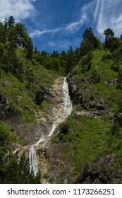 Waterfall in the in Reit-im-Winkl in the Bavarian Alps in Germany