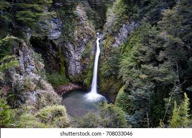 Waterfall Rio Bonito, on Bayo Mountain path, Villa La Angostura, Patagonia, Argentina