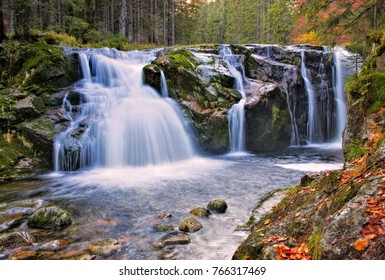 waterfall from river Elbe in the Giant Mountains in Bohemia