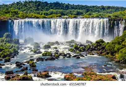 Waterfall river mountain landscape