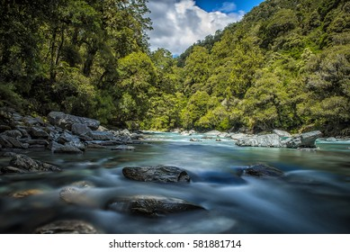 Waterfall, River, South Island, New Zealand (Motion blur)