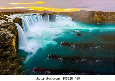 Waterfall river valley sunset landscape. Mountain river valley waterfall panorama