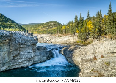 Waterfall in the Rocky mountains, Canada, Alberta