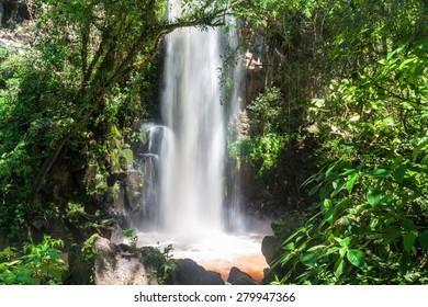Waterfall Salto Chico at Iguacu (Iguazu) falls on a border of Brazil and Argentina