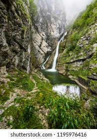 Waterfall Savica in Triglav national park on a sunny day , Slovenia