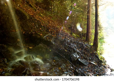 waterfall in the small Beskids forest near Rytra