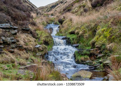 Waterfall at the Snake Pass in the Peak District in the UK
