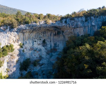 Waterfall Sopot close to Buzet, Istria, Croatia, is a favourite climbing site. When active waterfall is falling through a cave in an abri celling.