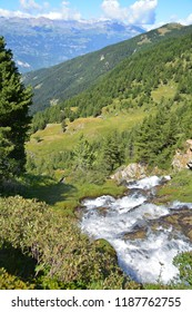 Waterfall in the Southern Swiss Alps above Sierre