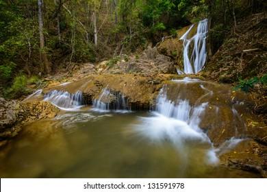Waterfall in spring season beuatiful background.
