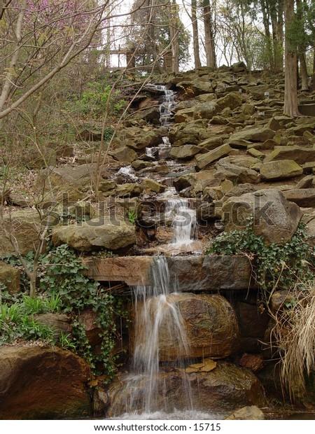Waterfall in springtime. Honor Heights park in Muskogee, Oklahoma