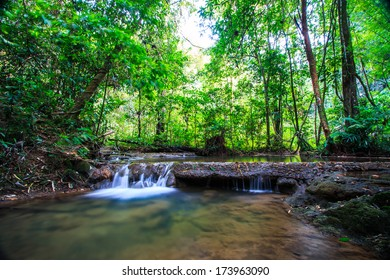Waterfall (Sra Nang Manora Forest Park Waterfall) in Phang nga  province Thailand