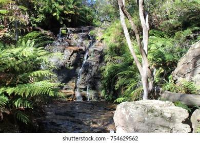 Waterfall start of National Pass, Wentworth Falls, Katoomba, NSW Australia