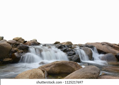 Waterfall and stone on white background