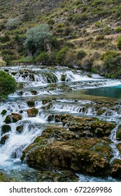 Waterfall of the stream in Andes, Huancaya Peru
