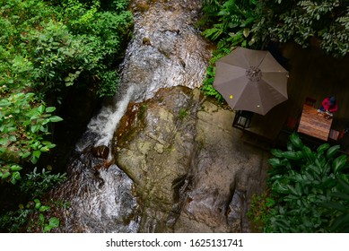 Waterfall Streams in nature the Mae Kampong village garden inThailand