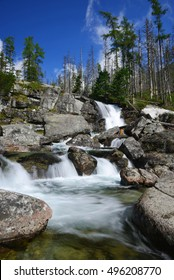 Waterfall of Studeny potok stream in the National Park High Tatra, Slovakia