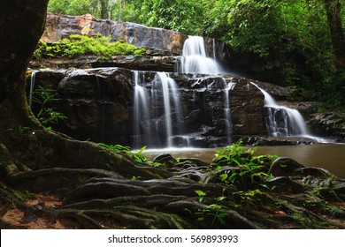 Waterfall in summer forest at Kao-Ta-Klub Nationnal pack in Sa Kaeo; Thailand.