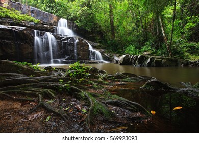 Waterfall in summer forest at Kao-Ta-Klub Nationnal pack in Sa Kaeo; Thailand,Thailand.