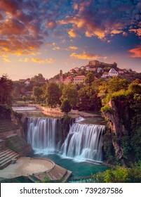 Waterfall sunset at sumer time in Jajce, Bosnia and Herzegovina