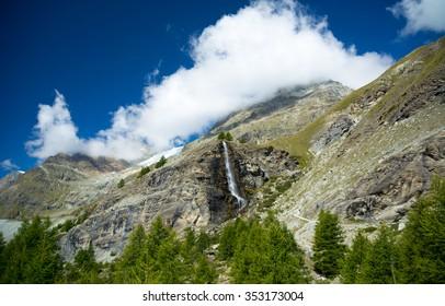 Waterfall is the swiss Alps, Zermatt