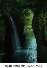 The waterfall in Takachiho Gorge,Miyazaki,Japan
